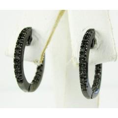 925 Black Sterling Silver Black Diamond Hoops 0.20ct