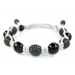 925 Black Silver Black Cz Macramé Smooth Bead Rope Bracelet 6.00ct