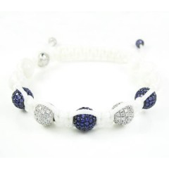 925 White Silver Purple & White Cz Macramé Smooth Bead Rope Bracelet 5.00ct