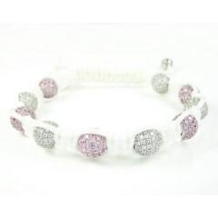 925 White Silver Pink & White Cz Macramé Bead Rope Bracelet 10.00ct