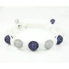 925 White Silver Purple & White Cz Macramé Smooth Bead Rope Bracelet 6.00ct