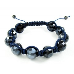 Blue Metallic Onyx Macramé Faceted Bead Rope Bracelet
