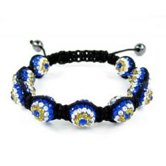 Black Smooth Onyx Macramé Bead Rope Evil Eye Rhinestone Bracelet 9.00ct