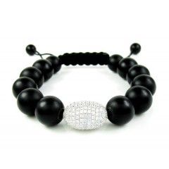 925 Sterling Silver Cz Black Smooth Onyx Macramé Bead Rope Bracelet 1.50ct