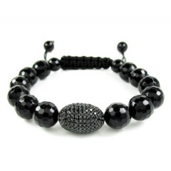 925 Sterling Silver Black Cz Black Smooth Onyx Macramé Faceted Bead Rope Bracelet 1.50ct