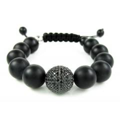 925 Sterling Silver Black Cz Black Smooth Onyx Macramé Bead Rope Bracelet 1.25ct
