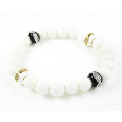 925 Sterling Silver Cz White & Black Smooth Onyx Macramé Bead Rope Bracelet 1.00ct