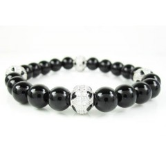 925 Sterling Silver Cz Black Smooth Onyx Macramé Bead Rope Bracelet 4.00ct