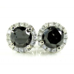 14k White Gold Black & White Diamond Cluster Earrings 1.35ct