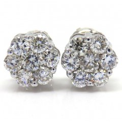 7mm 14k White, Yellow, Rose Gold Diamond Cluster Earrings 1.00ct