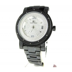 Mens Black Stainless Steel Super Techno Diamond Watch 0.12ct