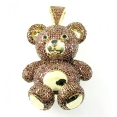 Ladies 14k Yellow Gold Champagne Diamond Teddy Bear 6.00ct