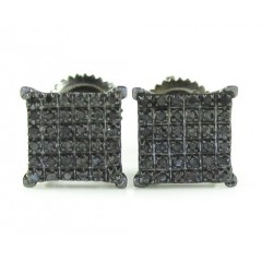 925 Black Sterling Black Diamond Earrings 0.15ct