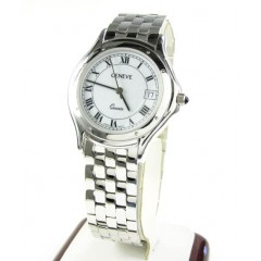 Mens 14k White Gold Genev...
