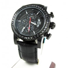 Techno Com Kc Black Diamond Carbon Fiber Watch 3.50ct
