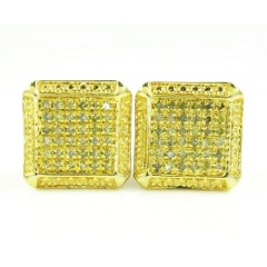 925 Yellow Sterling Silver Canary Diamond Earrings 0.50ct