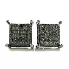 925 Black Sterling Silver Black Diamond Earrings 0.60ct