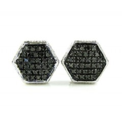 925 White Sterling Silver Black Diamond Earrings 0.35ct