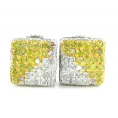 925 White Sterling Silver White & Canary Diamond Earrings 0.35ct