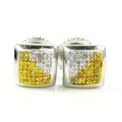 925 White Sterling Silver White & Canary Diamond Earrings 0.15ct