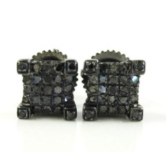 925 Black Sterling Silver Black Diamond Earrings 0.75ct