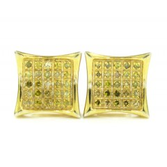 925 Yellow Sterling Silver Canary Diamond Earrings 0.30ct