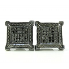 925 Black Sterling Silver Black Diamond Earrings 0.20ct