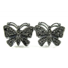 925 Black Sterling Silver Black Diamond Butterfly Earrings 0.25ct