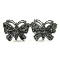 925 Black Sterling Silver Black Diamond Butterfly Earrings 0.25ct