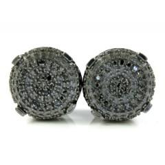 925 Black Sterling Silver Black Diamond Earrings 0.35ct