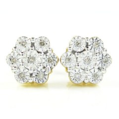 925 Two Tone Sterling Silver Diamond Cluster Earrings 0.08CT