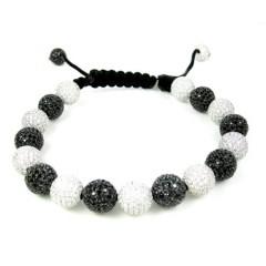 Sterling Silver Black & White Cz Macramé Rope Bracelet 18.00ct