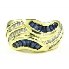 Ladies 14k Yellow Gold Baguette Blue Sapphire & Diamond Cocktail Ring 1.50ct