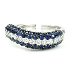 Ladies 14k White Gold White Diamond  & Blue Sapphire Fashion Ring 1.61ct