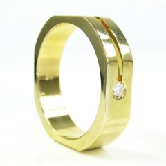 Mens Baraka 18k Yellow Gold Diamond Ring 0.07ct
