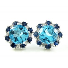 Ladies 14k White Gold Baby Blue Topaz Diamond Cluster Earrings 5.86ct