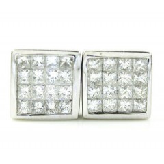 Ladies 18k White Gold Princess Cut Diamond Earrings 1.20ct