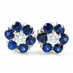 Ladies 18k White Gold Blue Diamond Cluster Earrings 0.91ct