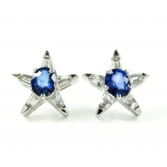 Ladies 18k White Gold Blue Sapphire Diamond Star Earrings 1.07ct