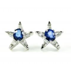 Ladies 18k White Gold Blue Sapphire Diamond Star Earrings 1.07ct