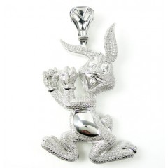 925 White Sterling Silver Bugs Bunny Diamond Pendant 2.25ct
