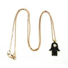 Ladies 14k Solid Rose Gold Black Diamond Hamsa Pendant With Chain 0.47ct