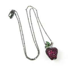 Ladies 18k Solid Black & White Gold Ruby & Sapphire Apple Pendant With Chain 1.25ct