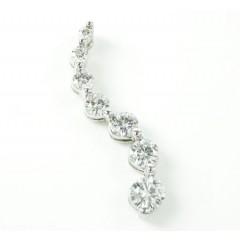 Ladies 14k solid white gold 7 stone diamond journey pendant 1.00ct