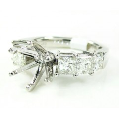 Ladies 18k White Gold Princess Cut Diamond Semi Mount Ring 1.60ct