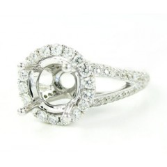 Ladies 18k White Gold Round Diamond Semi Mount Ring 1.10ct