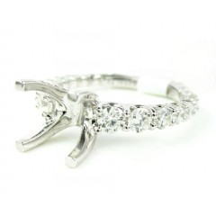 Ladies 18k White Gold Round Diamond Semi Mount Ring 1.33ct