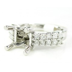 Ladies 18k White Gold Round Diamond Semi Mount Ring 0.64ct