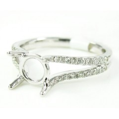 Ladies 18k White Gold Round Diamond Semi Mount Ring 0.30ct