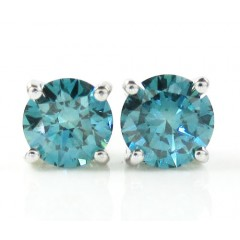 14k White Gold Blue Diamond Studs 1.00ct